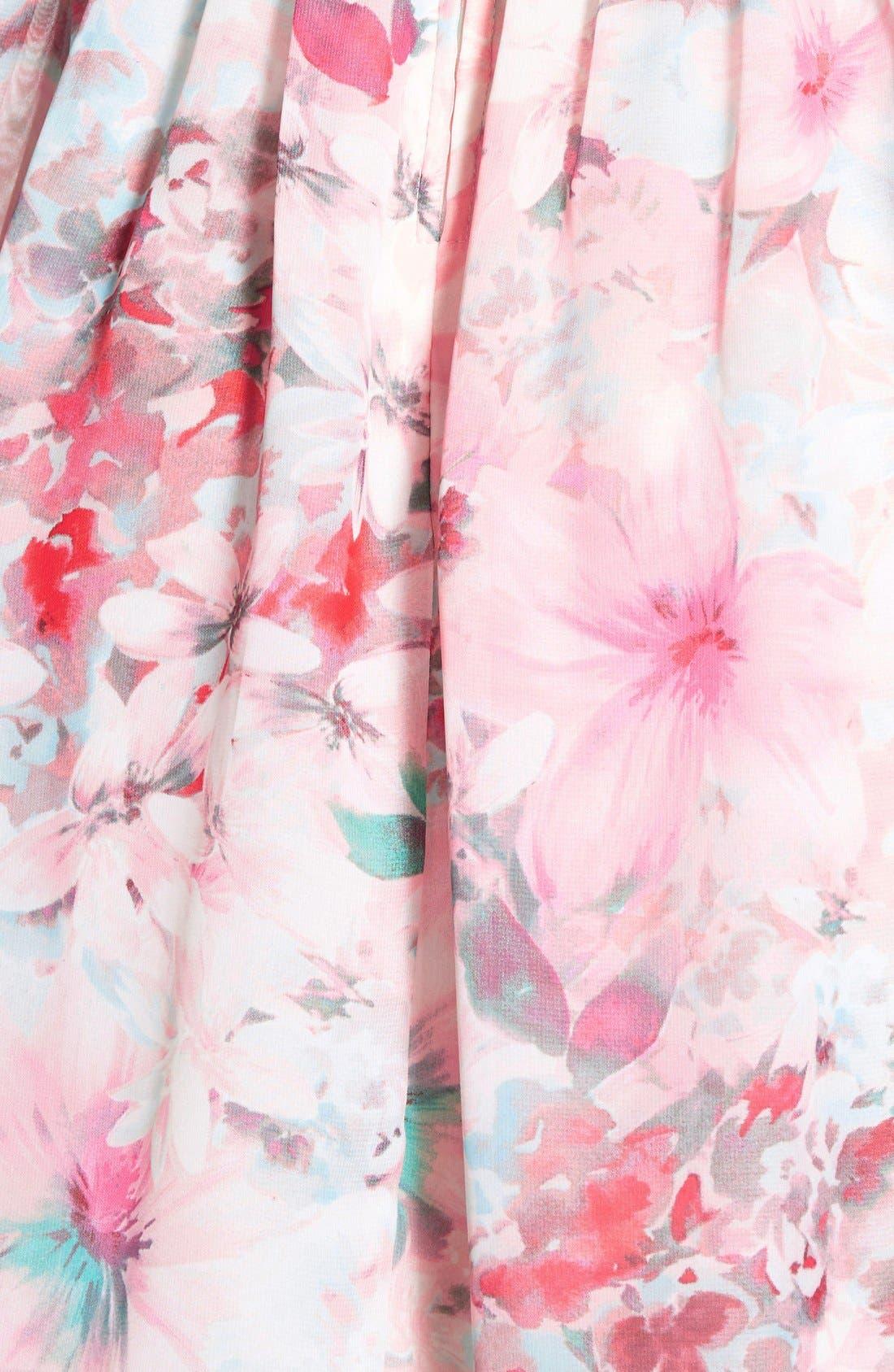 Alternate Image 5  - Trixxi Floral Print High Neck Skater Dress
