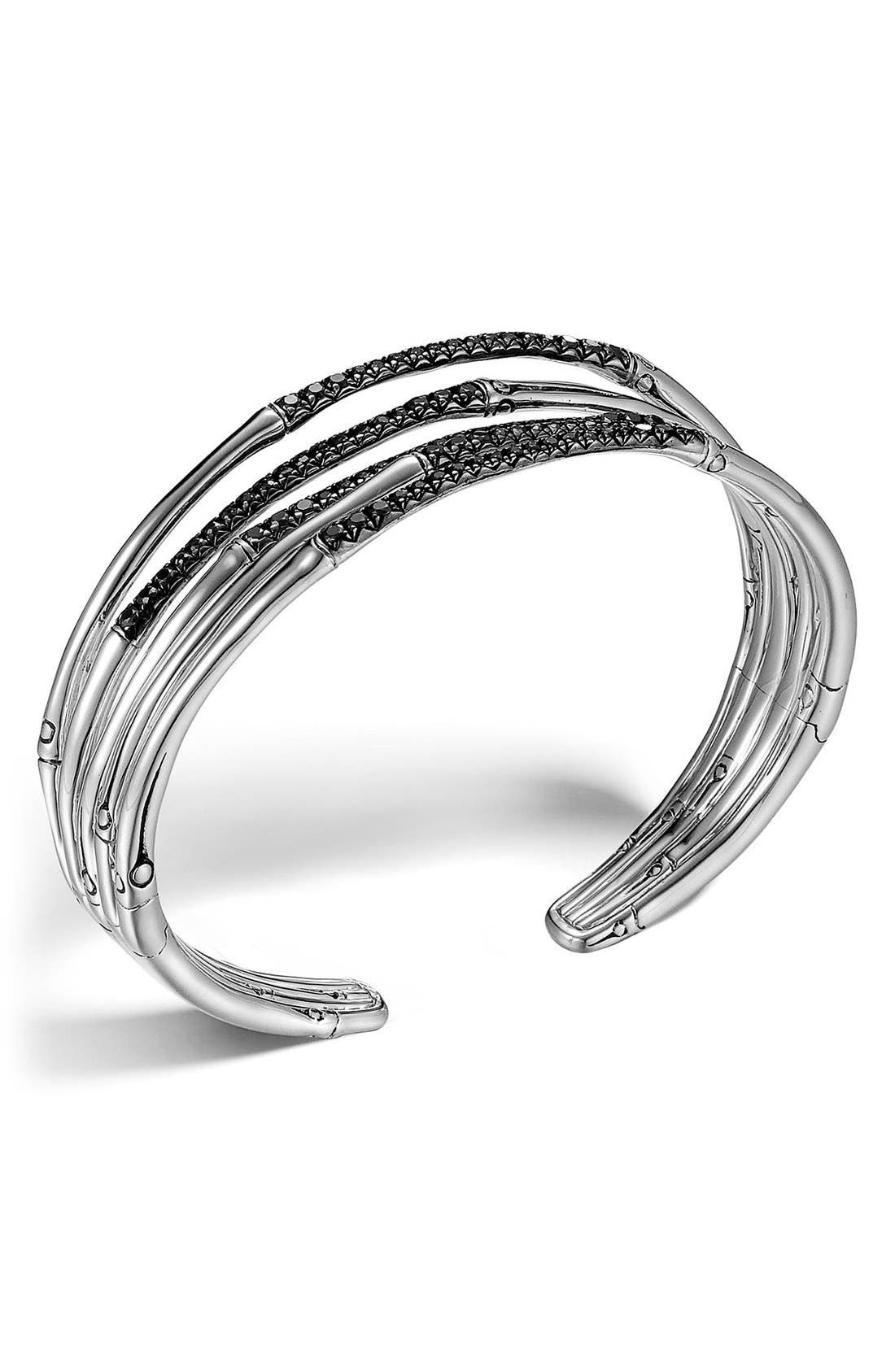 'Bamboo - Lava' Black Sapphire Cuff,                         Main,                         color, Silver