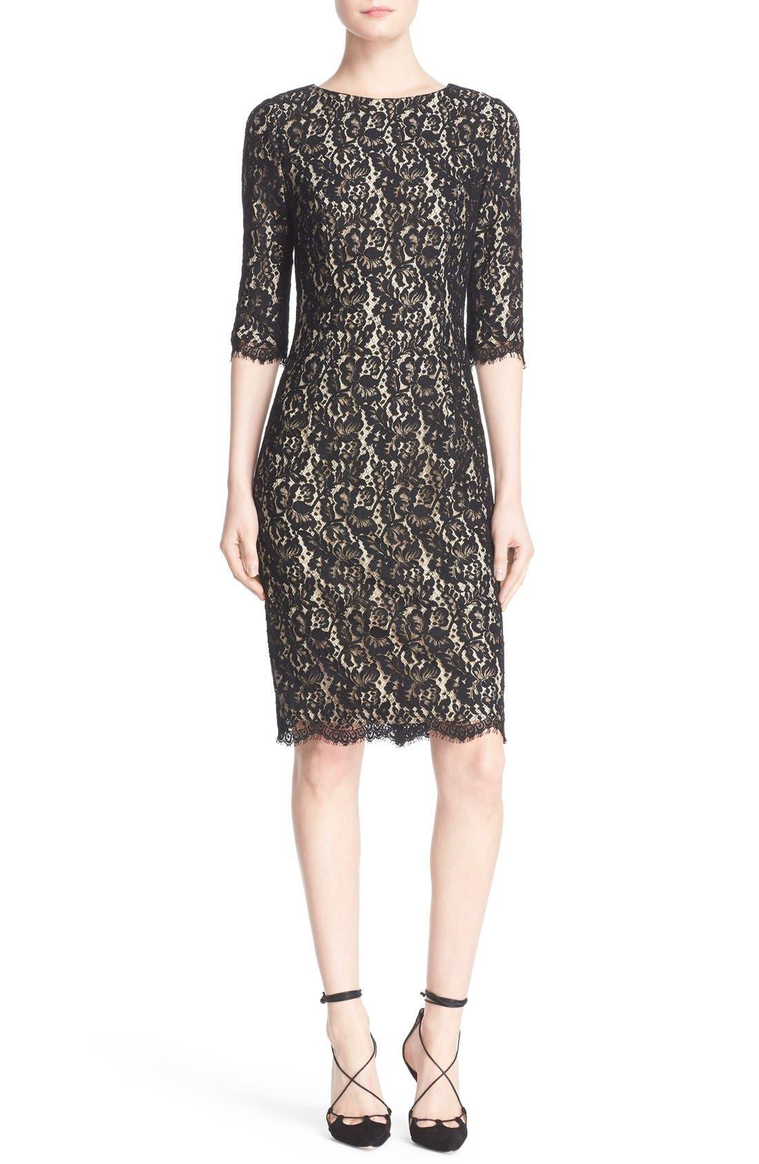 Alternate Image 1 Selected - Carolina Herrera Lace Cocktail Dress