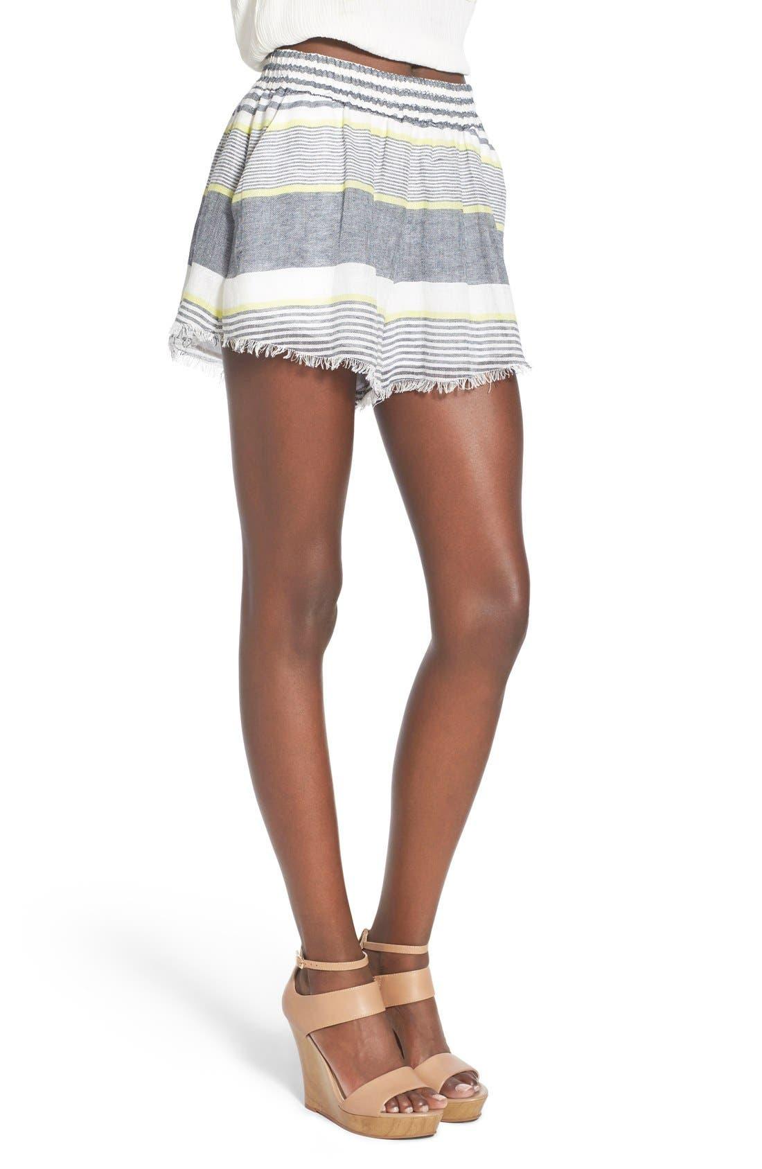 ASTR 'Ibiza' Linen & Cotton Shorts,                             Alternate thumbnail 3, color,                             Lime Stripe