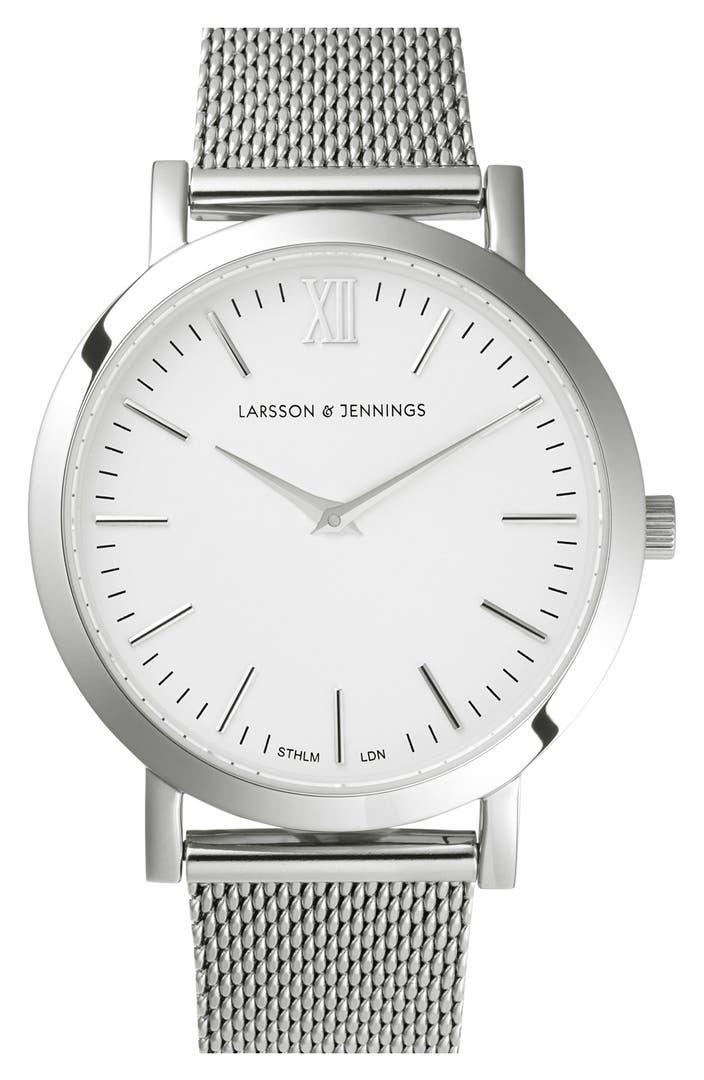 larsson jennings 39 lugano 39 mesh strap watch 33mm nordstrom. Black Bedroom Furniture Sets. Home Design Ideas