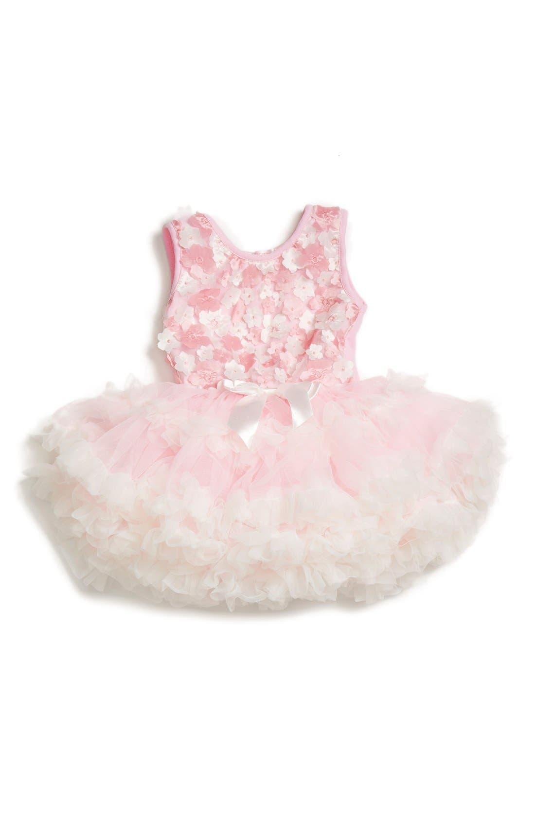 Main Image - Popatu Floral Appliqué Pettidress (Baby Girls)