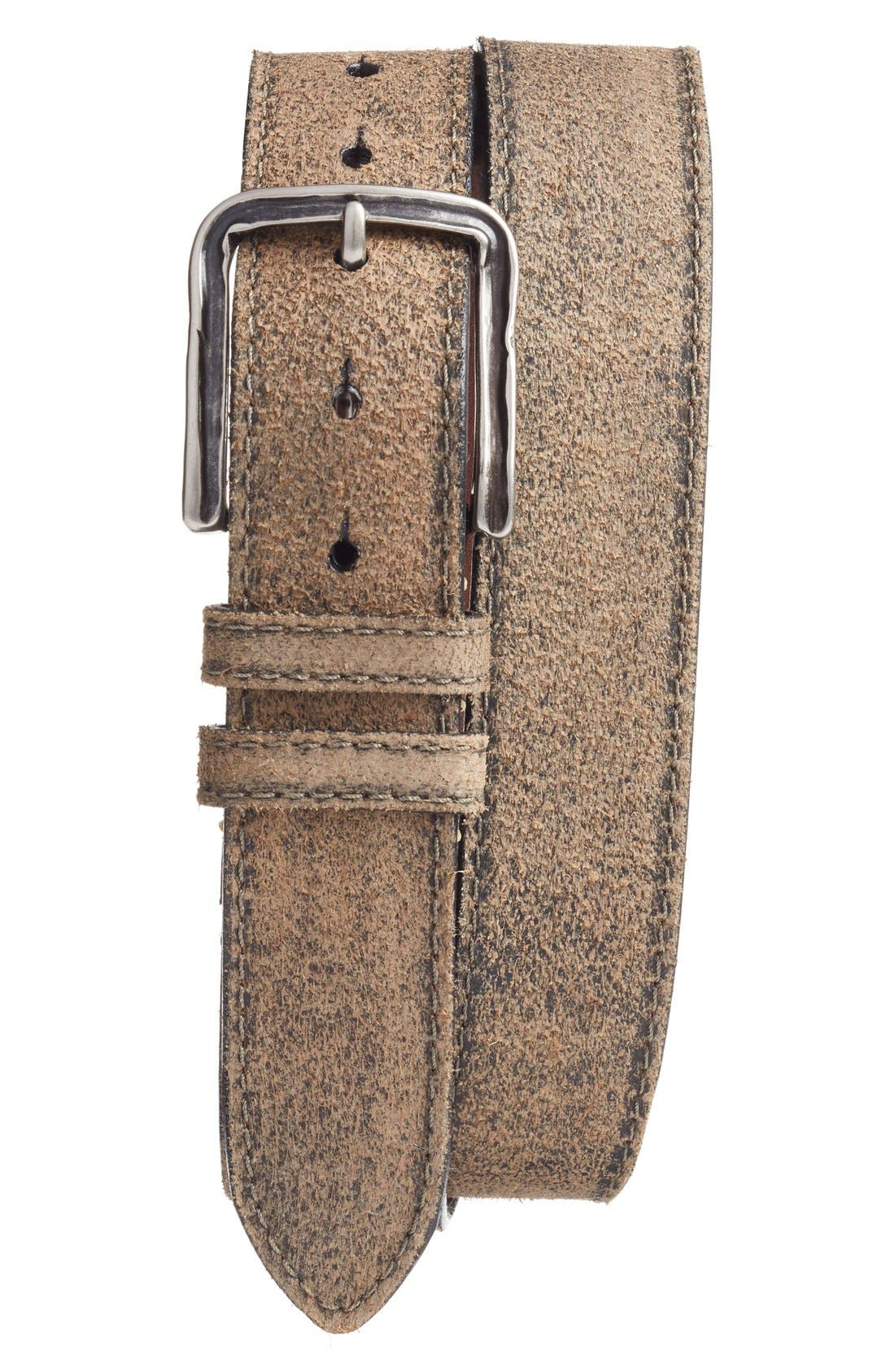 Sanded Leather Belt,                             Main thumbnail 1, color,                             Moss