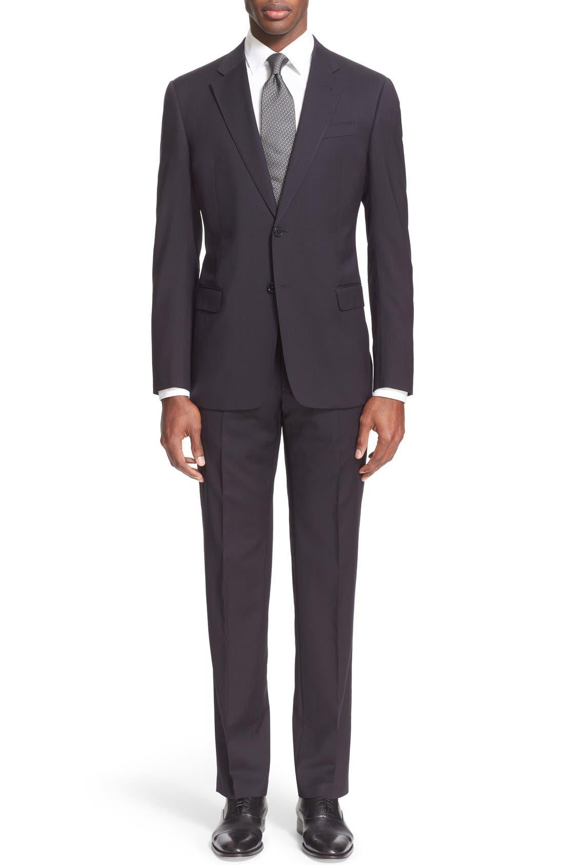 Main Image - Armani Collezioni'G-Line' Trim Fit Solid Wool Suit