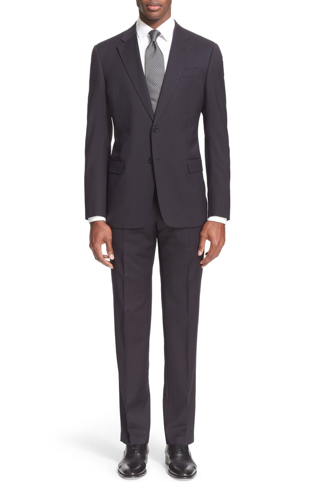 'G-Line' Trim Fit Solid Wool Suit,                         Main,                         color, Sea Blue