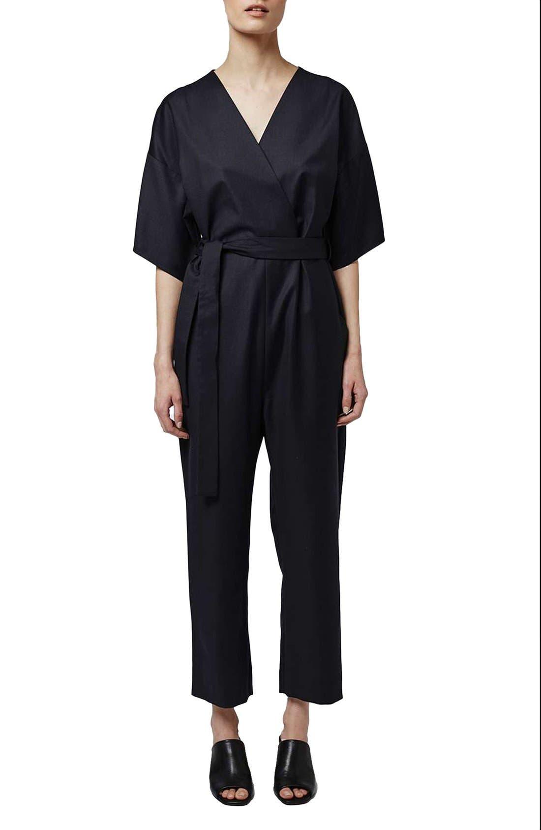 Main Image - Topshop Boutique Wool Kimono Wrap Jumpsuit