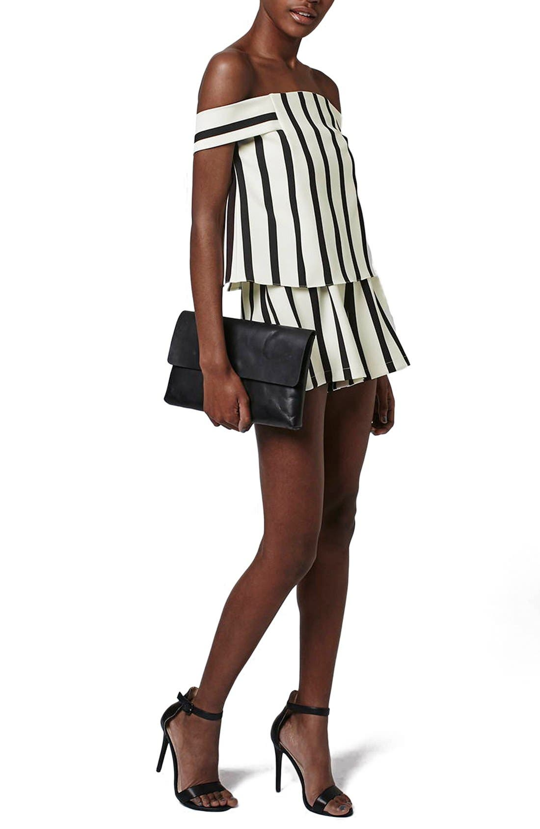 Alternate Image 1 Selected - Topshop Stripe Off the Shoulder Romper (Regular & Petite)