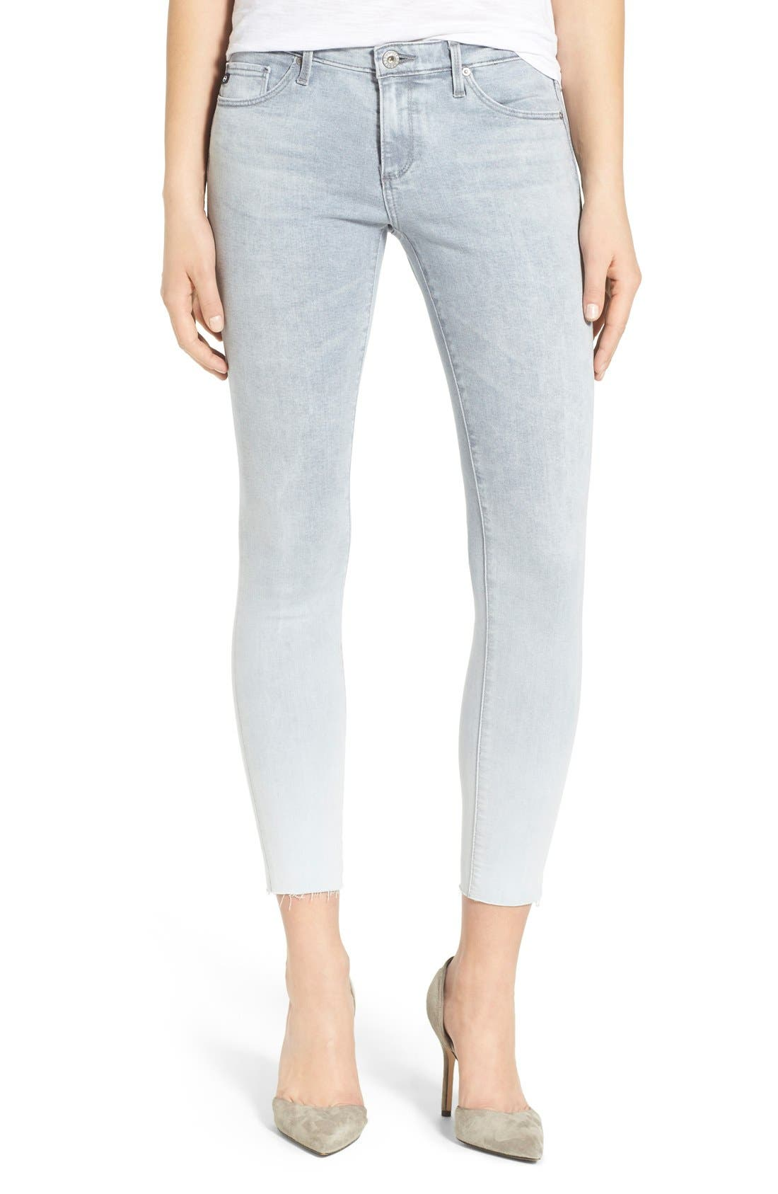'The Legging' Raw Edge Ankle Skinny Jeans,                             Main thumbnail 1, color,                             Optical Moon