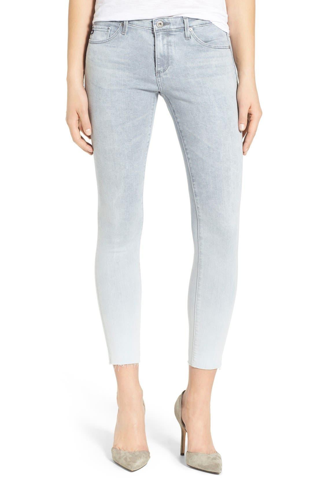 Main Image - AG 'The Legging' Raw Edge Ankle Skinny Jeans (Mystic Grey)