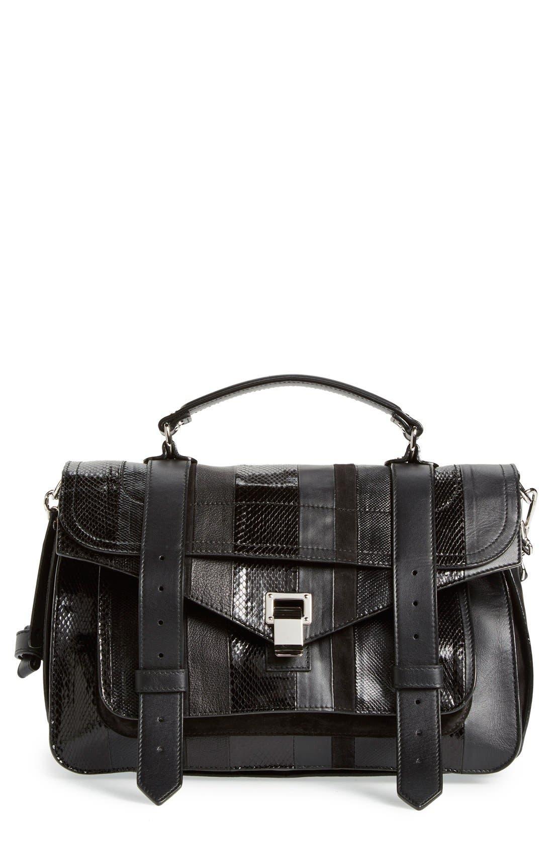 Main Image - Proenza Schouler 'Medium PS1 - Exotic Stripe' Genuine Snakeskin & Leather Satchel