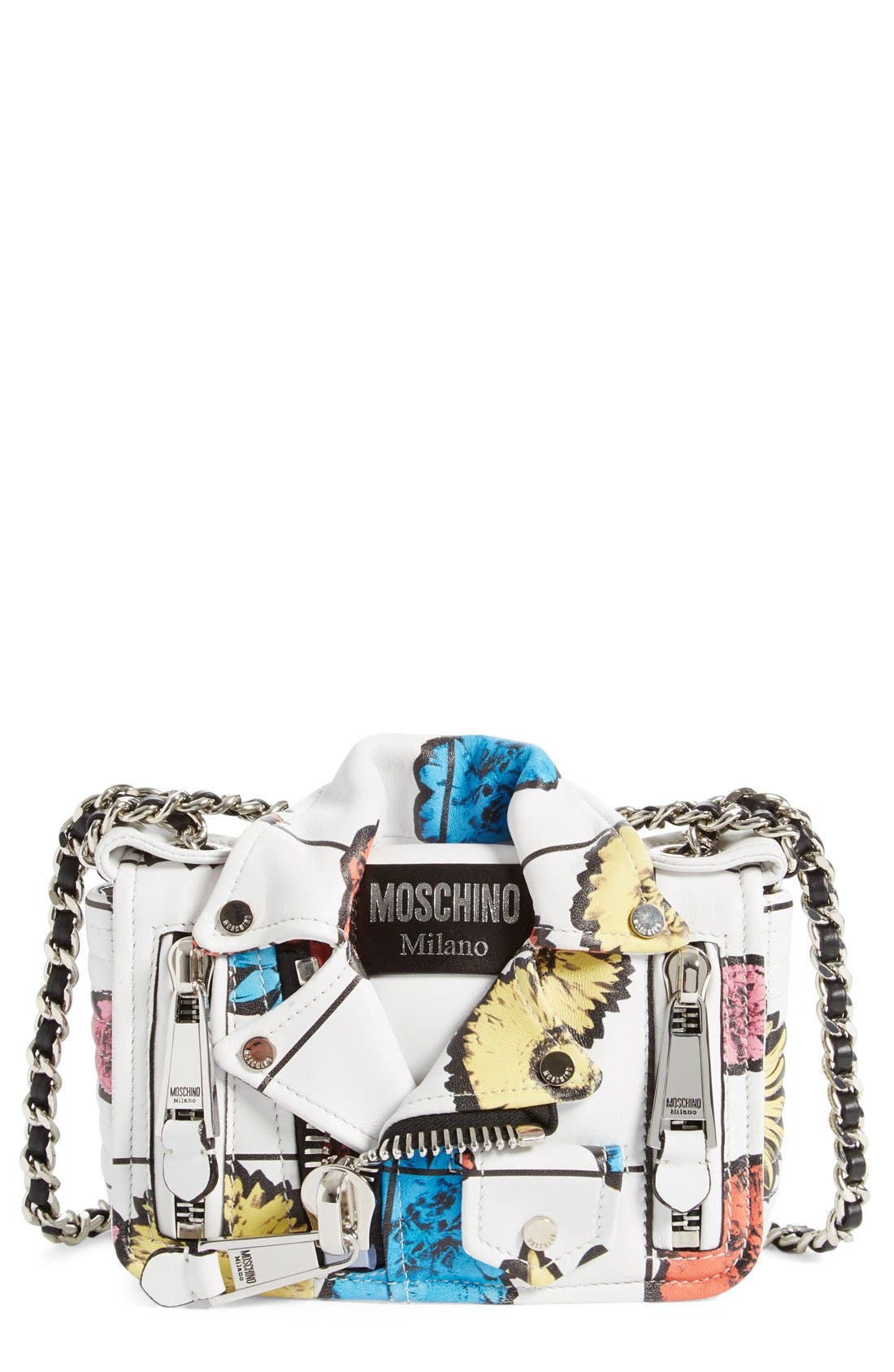 Main Image - Moschino 'Small Biker Jacket - Floral Print' Shoulder/Crossbody Bag