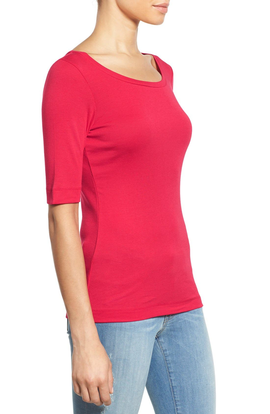 Ballet Neck Cotton & Modal Knit Elbow Sleeve Tee,                             Alternate thumbnail 3, color,                             Red Barberry