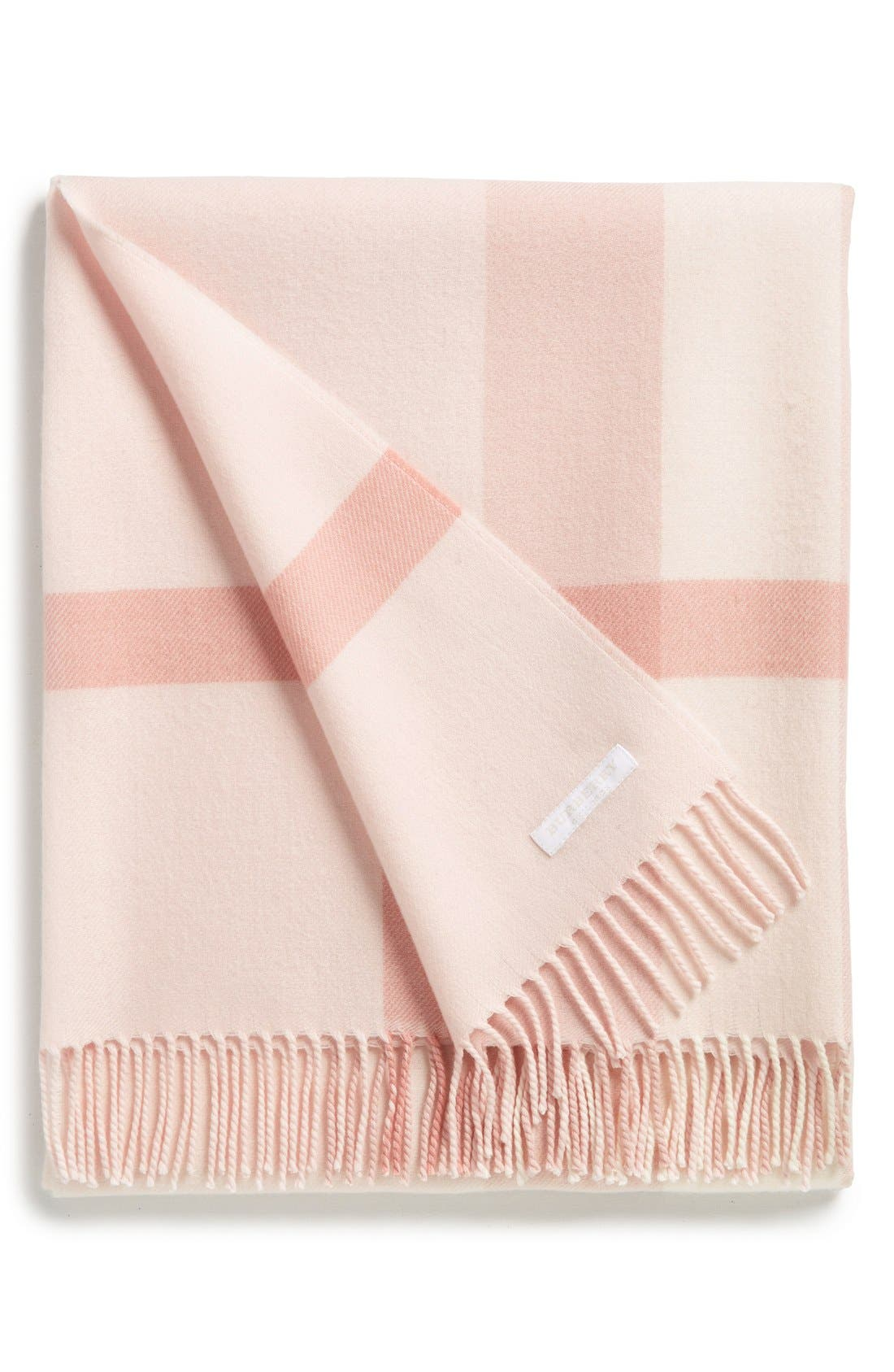 Merino Wool Baby Blanket,                             Main thumbnail 1, color,                             Powder Pink
