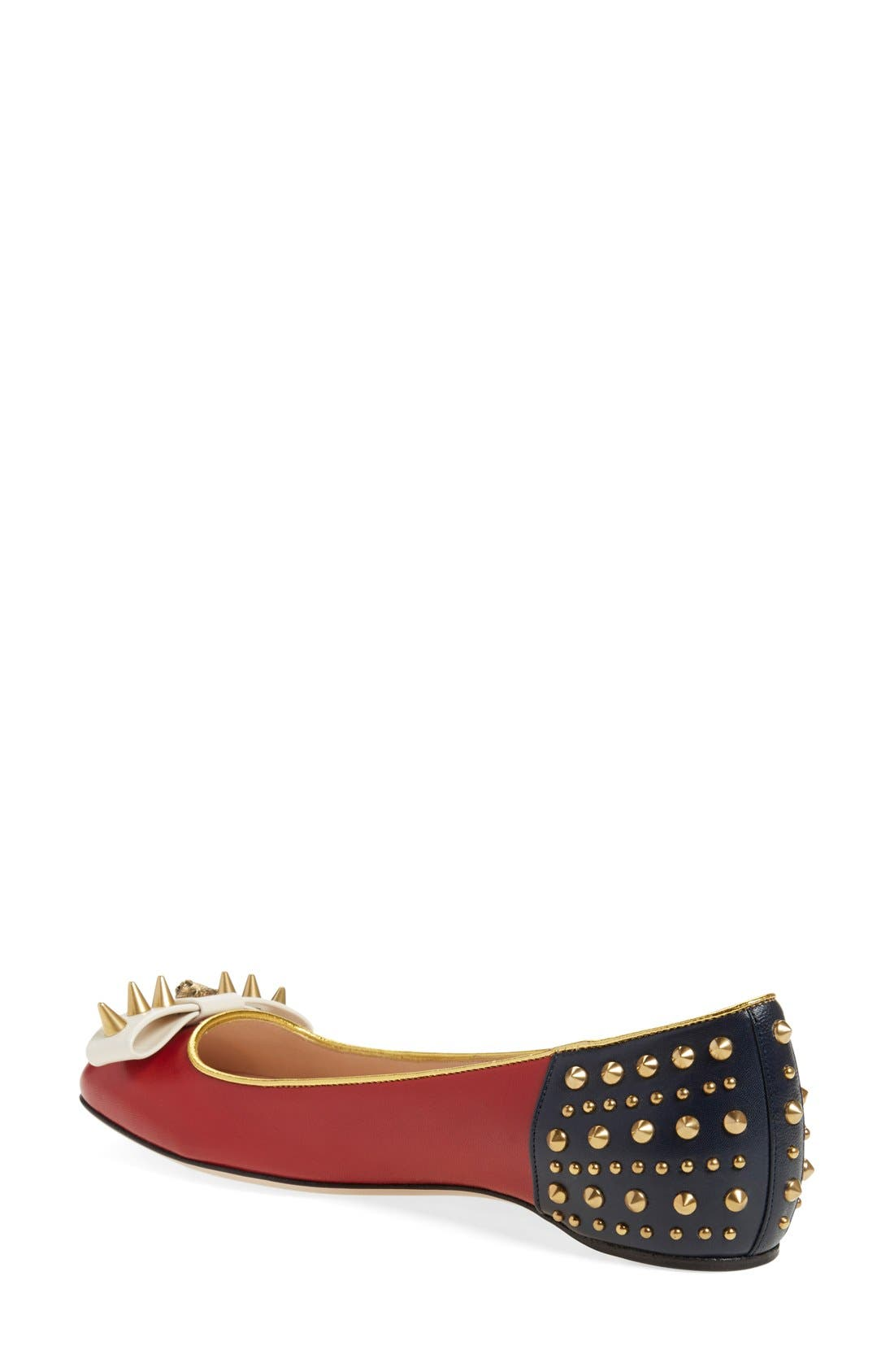 Alternate Image 2  - Gucci 'Lexi' Studded Square Toe Flat (Women)