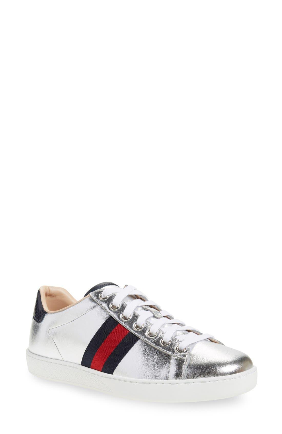 Alternate Image 1 Selected - Gucci 'New Ace' Metallic Low Top Sneaker (Women)