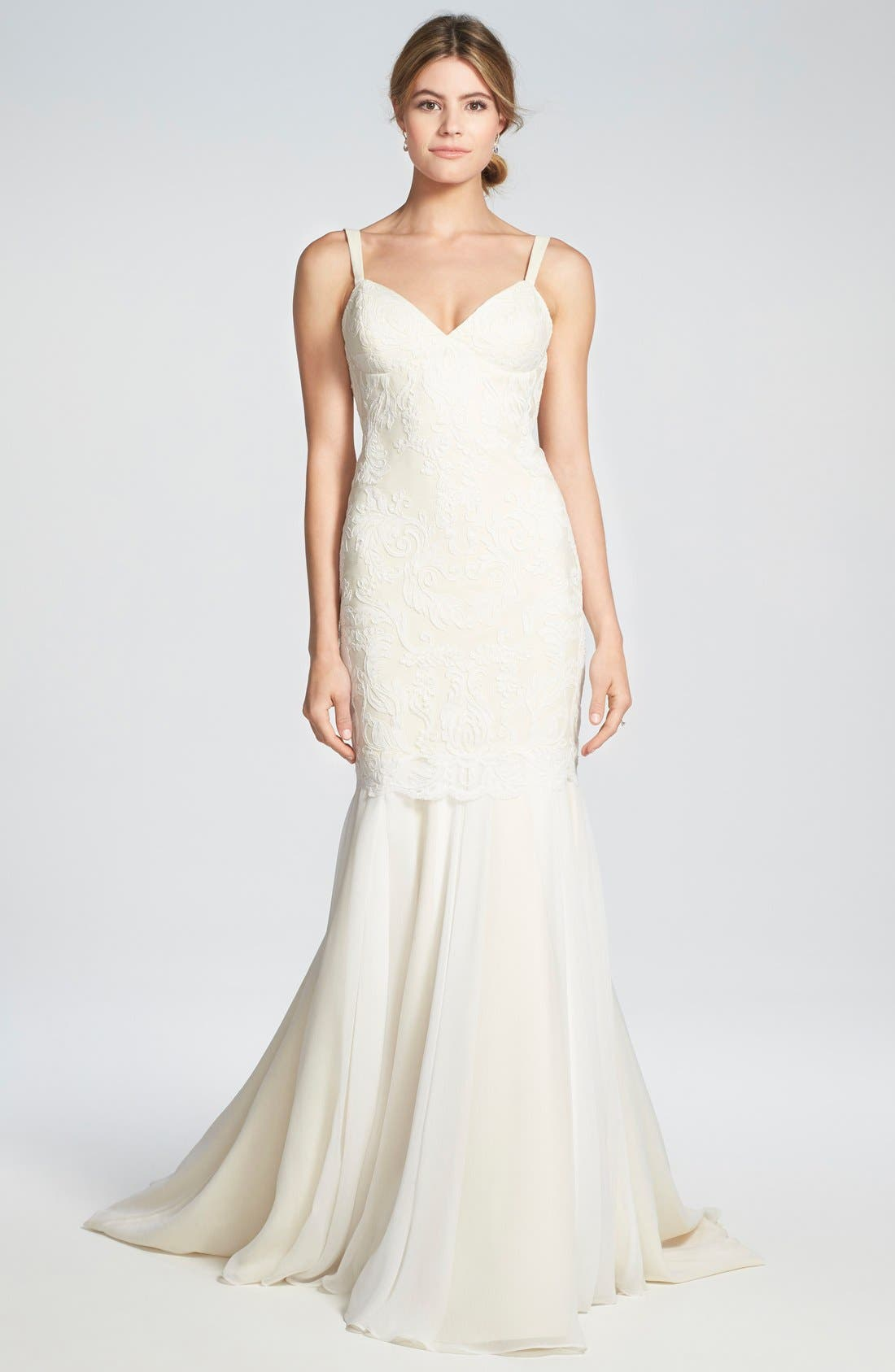 Alternate Image 1 Selected - Katie May 'Monaco' Lace & Chiffon Trumpet Gown
