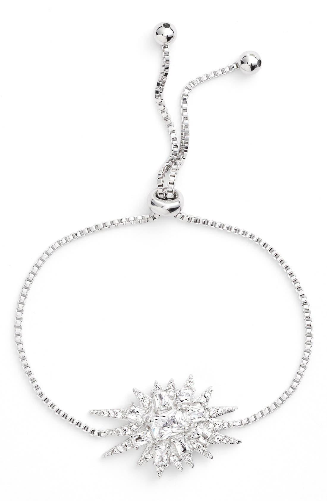 'Explosion' Adjustable Cubic Zirconia Bracelet,                         Main,                         color, Silver