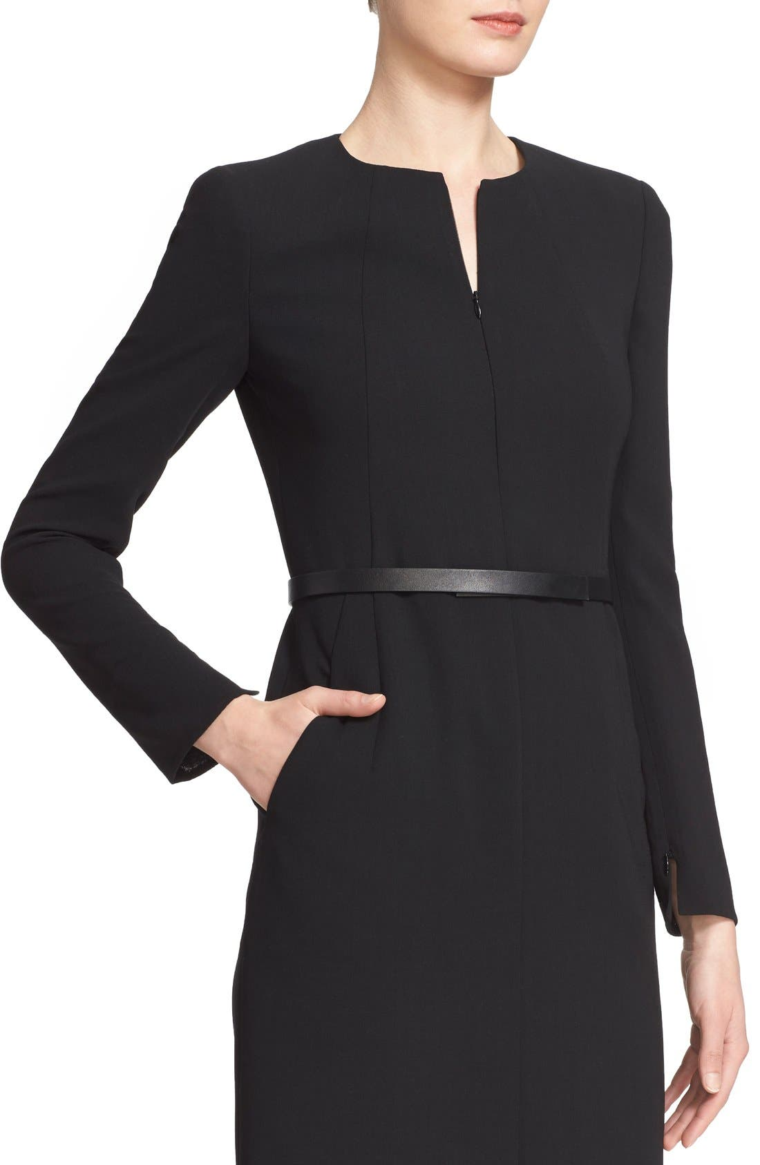 Alternate Image 6  - Akris Belted Zip Front Wool Blend Dress