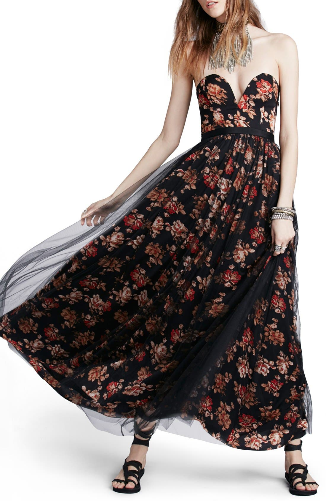 Alternate Image 1 Selected - Free People Floral Print Plunge Gown