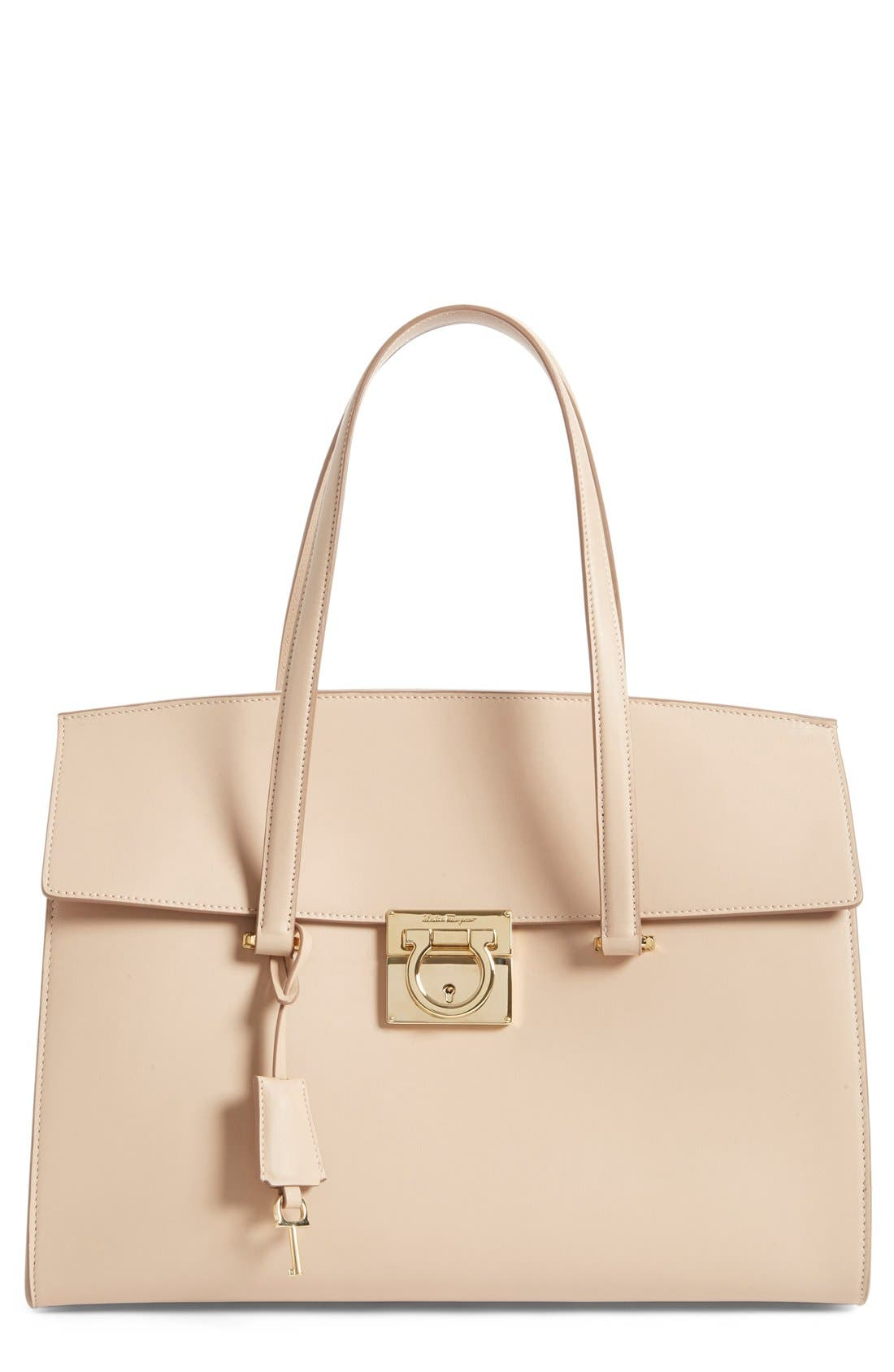 Large Smooth Leather Satchel,                         Main,                         color, New Bisque