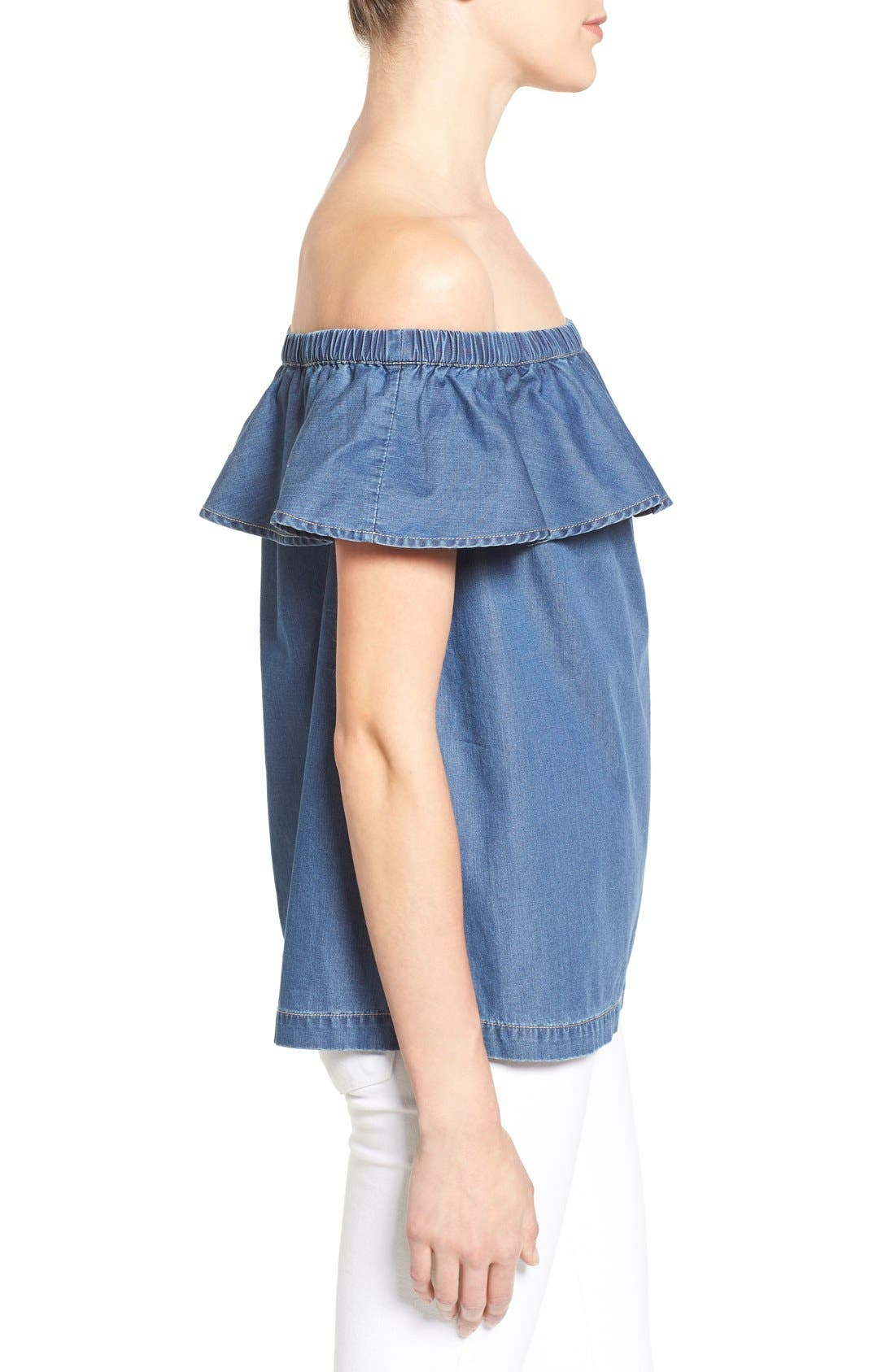 Off the Shoulder Chambray Top,                             Alternate thumbnail 3, color,                             Blue Refined Chambray