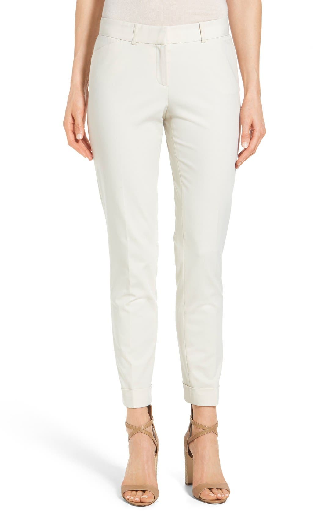 'Downtown' Stretch Cotton Blend Cuff Ankle Pants,                             Main thumbnail 1, color,                             Raffia