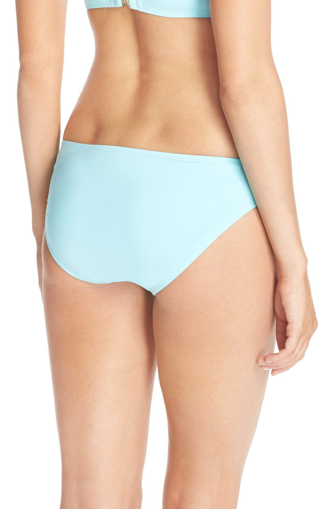 Side Shirred Hipster Bikini Bottoms,                             Alternate thumbnail 2, color,                             Swimming Pool