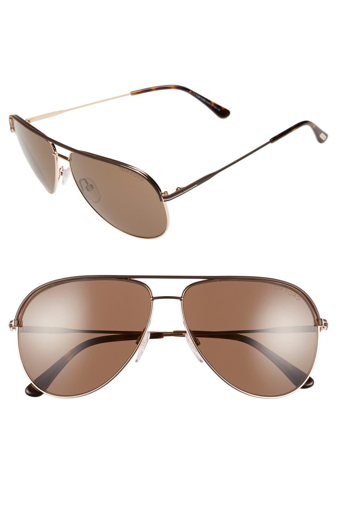 'Erin' 61mm Aviator Sunglasses,                         Main,                         color, Dark Brown/ Other/ Roviex