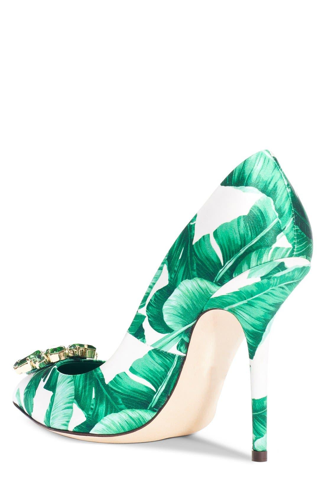 Alternate Image 2  - Dolce&Gabbana Banana Leaf Pointy Toe Pump (Women)