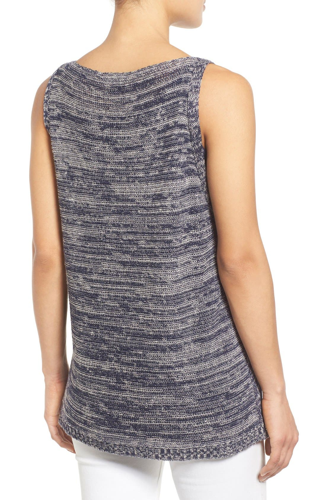 Alternate Image 2  - Eileen Fisher Organic Linen Knit Bateau Neck High/Low Shell