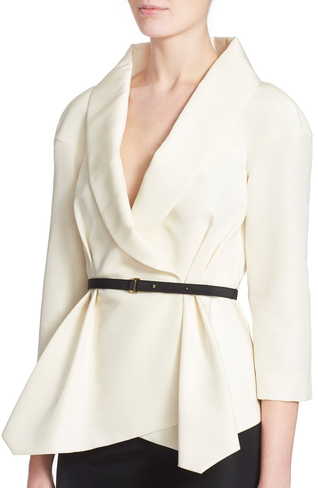 Belted Silk Wrap Blouse,                             Alternate thumbnail 5, color,                             White