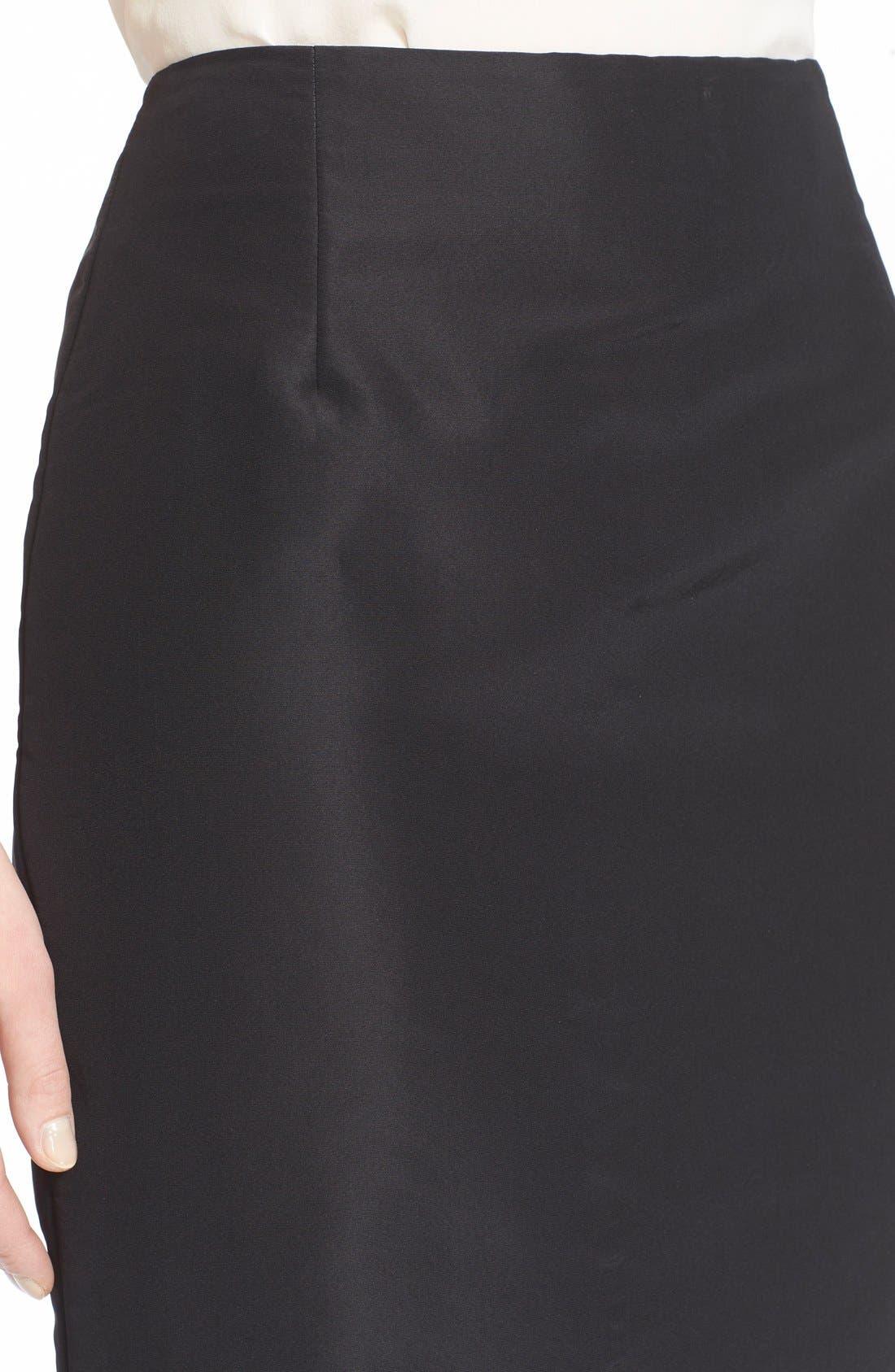 Silk Pencil Skirt,                             Alternate thumbnail 5, color,                             Black