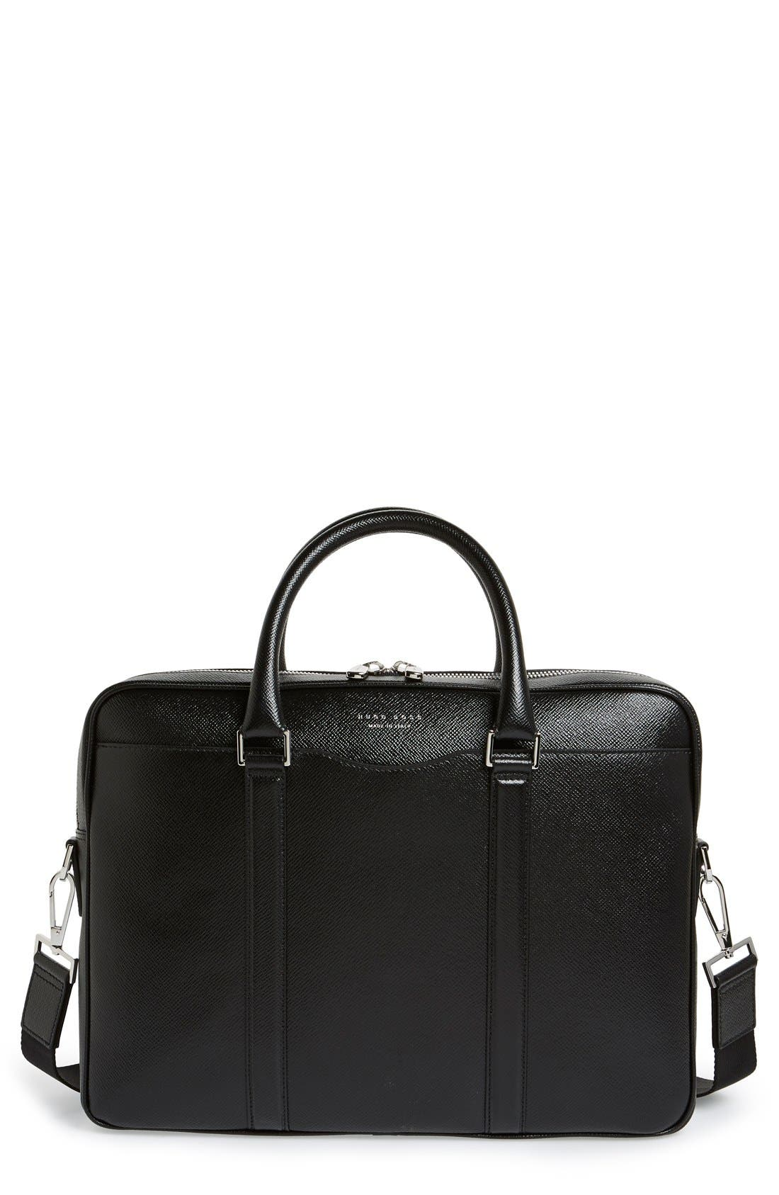 BOSS 'Signature' Leather Briefcase