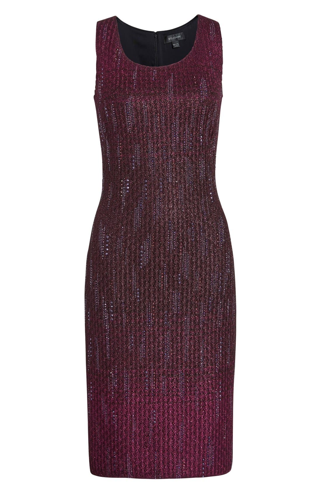 Alternate Image 4  - St. John Collection 'Kira' Crystal Embellished Ombré Knit Sheath Dress