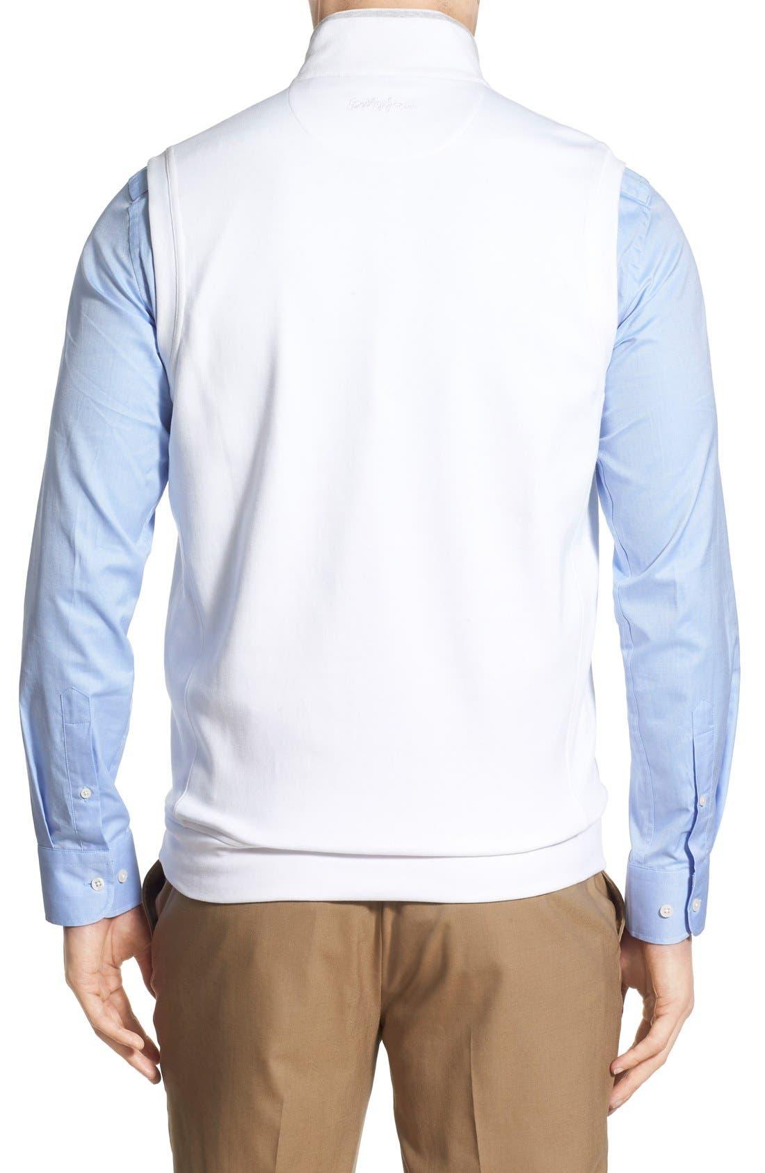 Leaderboard Quarter Zip Pima Cotton Vest,                             Alternate thumbnail 2, color,                             White