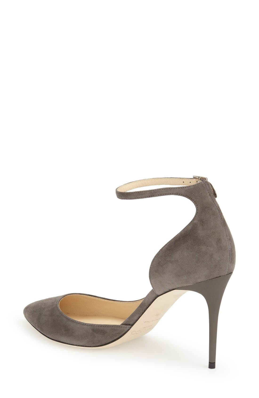 'Lucy' Half d'Orsay Pointy Toe Pump,                             Alternate thumbnail 2, color,                             Taupe Grey Suede