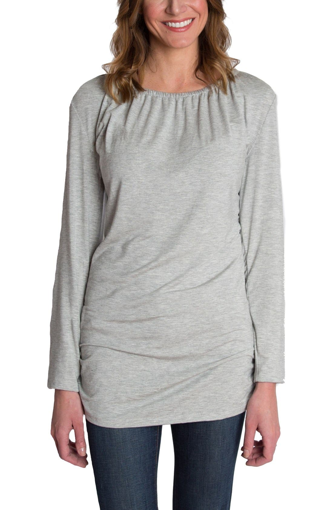 'Luxe' Long Sleeve Nursing Tee,                         Main,                         color, Heather Gray