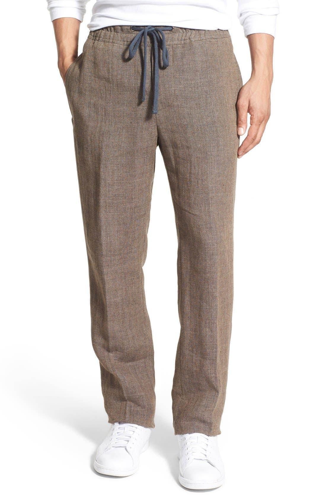 'Delave' Drawstring Linen Pants,                         Main,                         color, Acorn