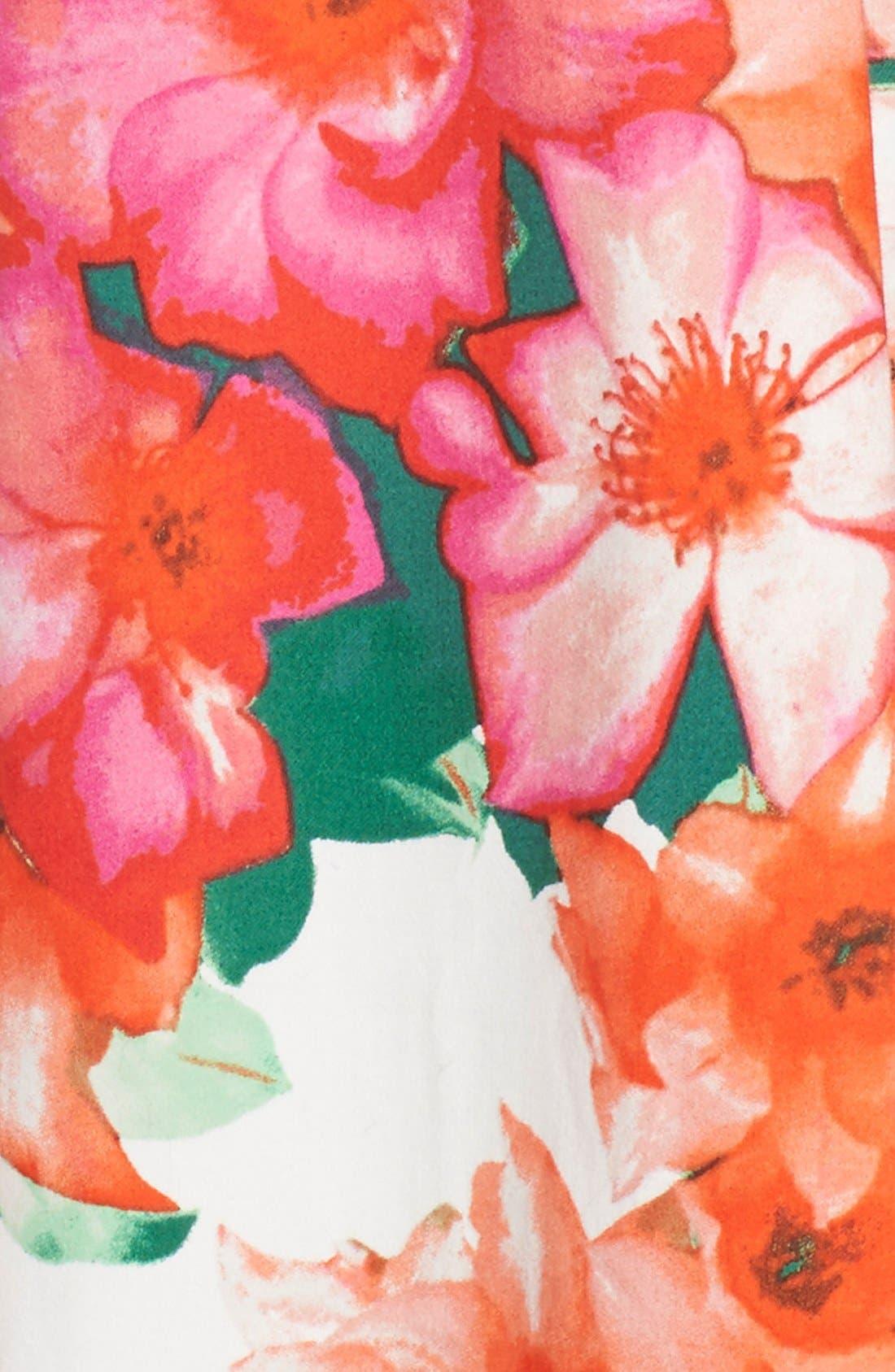 Floral Print Fit & Flare Dress,                             Alternate thumbnail 5, color,                             Pink/ Orange/ Green