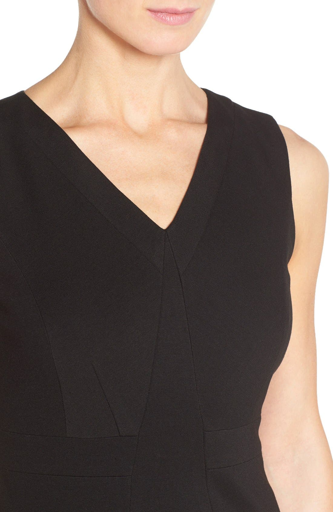 Alternate Image 4  - Classiques Entier® Sleeveless Italian Ponte V-Neck Sheath Dress (Regular & Petite)