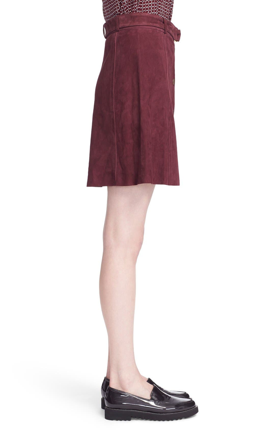 belted suede a-line skirt,                             Alternate thumbnail 3, color,                             Midnight Wine
