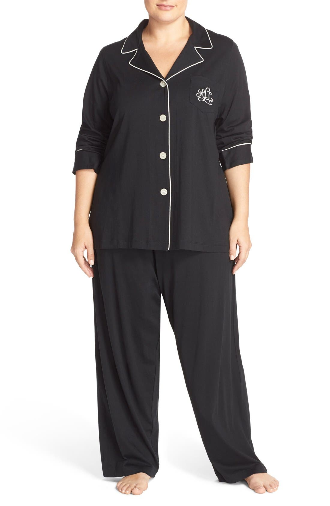 Knit Pajamas,                             Main thumbnail 1, color,                             Black