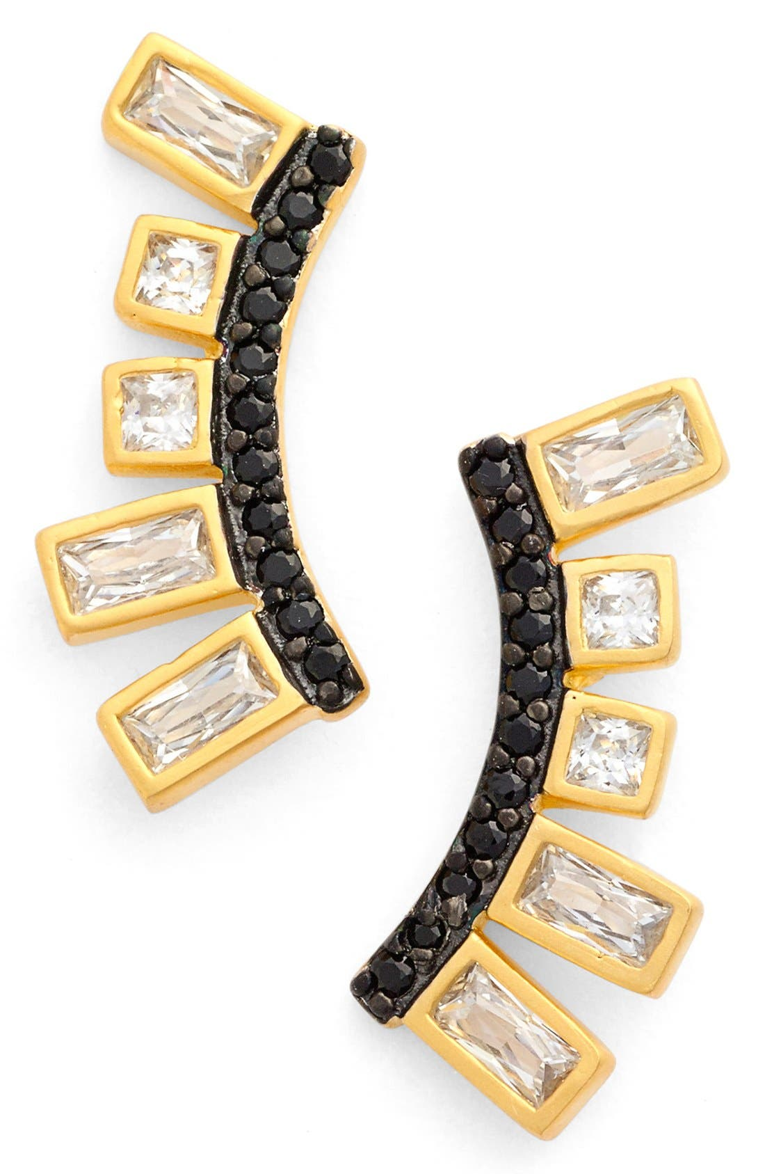 Main Image - FREIDA ROTHMAN 'Double Helix' Cubic Zirconia Ear Crawlers
