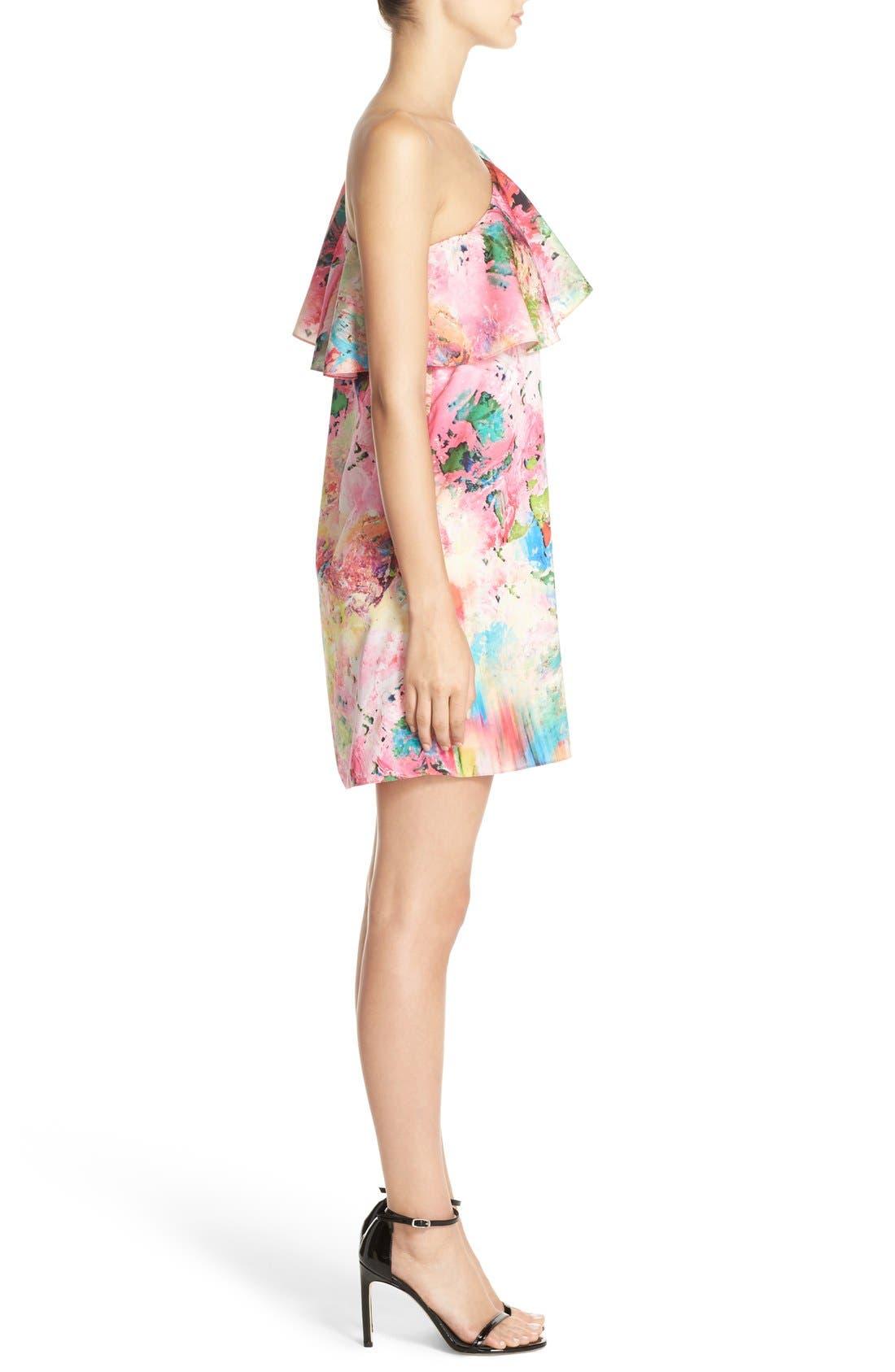 Alternate Image 3  - A by Amanda 'Zoe' Floral Print One Shoulder Dress