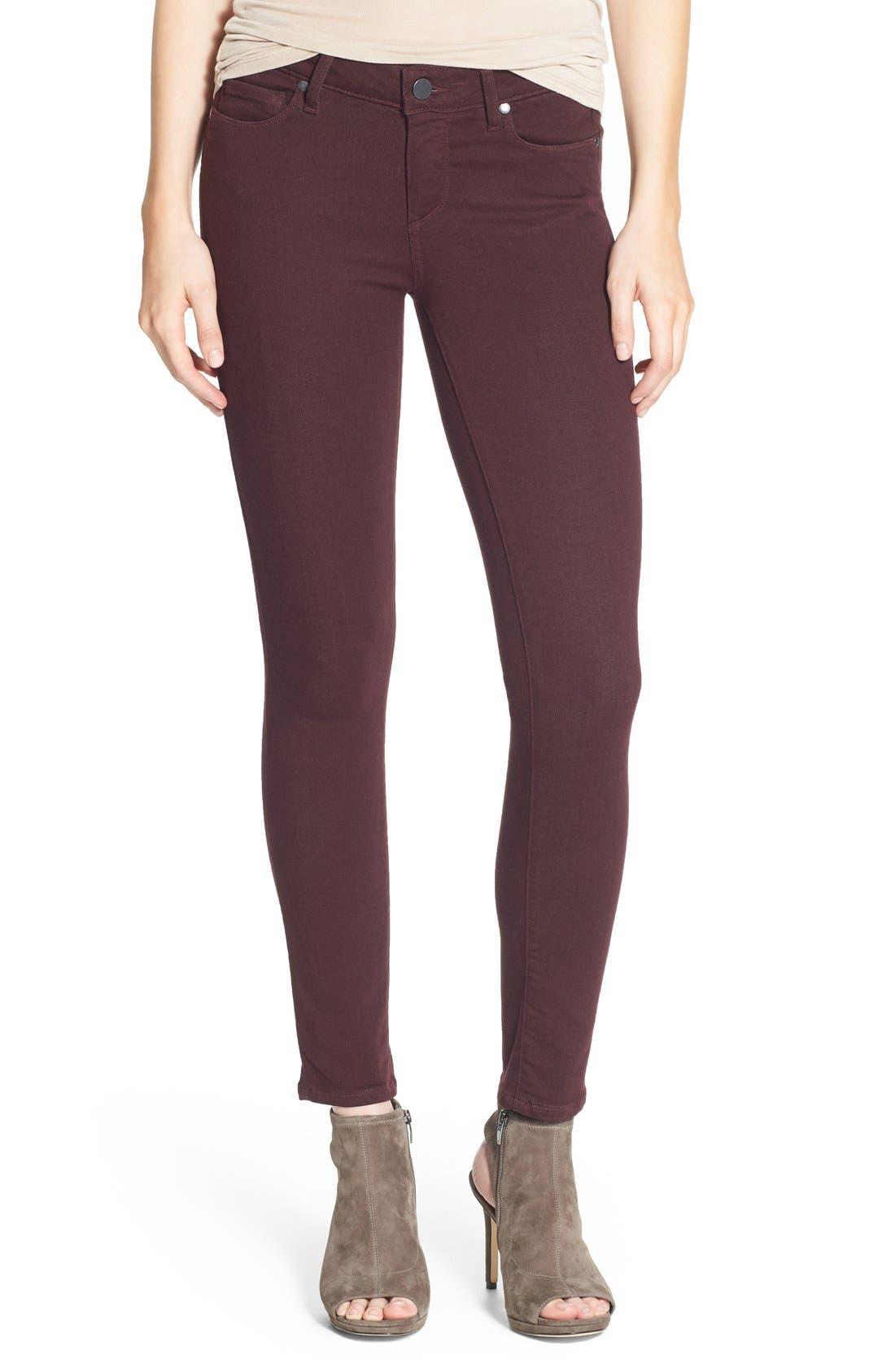 Main Image - PAIGE 'Verdugo' Ankle Skinny Jeans (Aubergine)