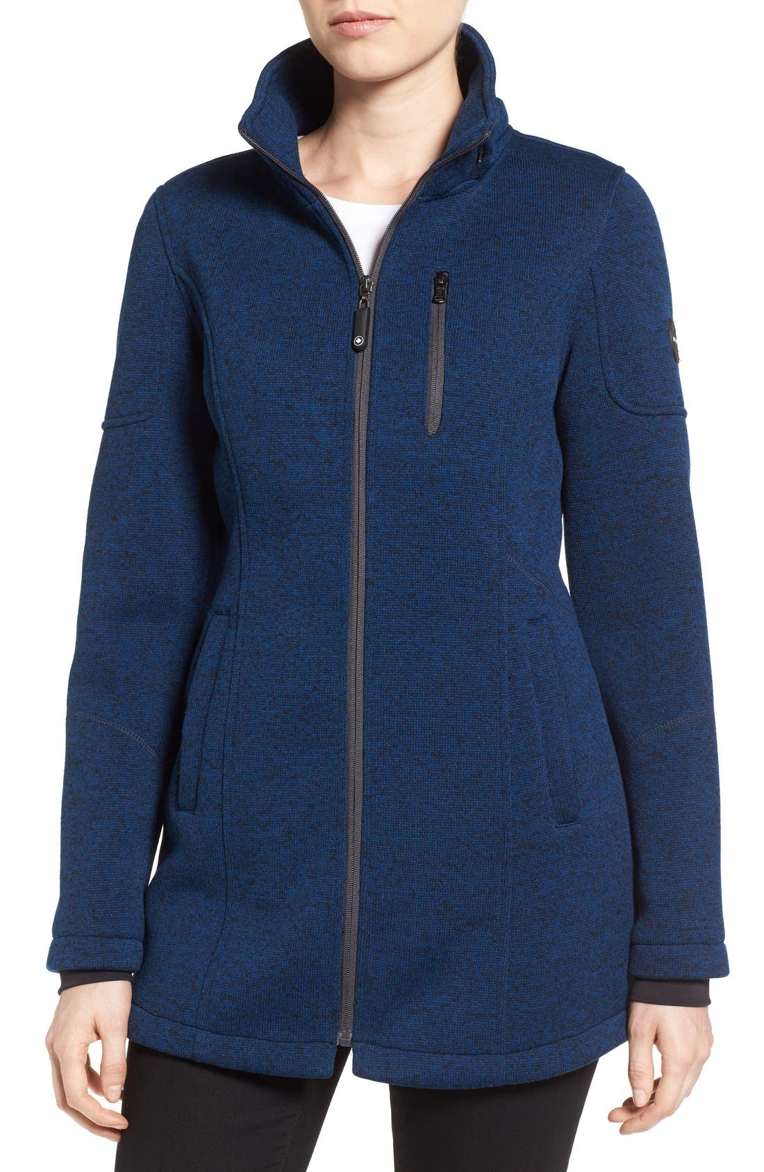Bonded Knit Zip Front Jacket,                             Alternate thumbnail 4, color,                             Navy
