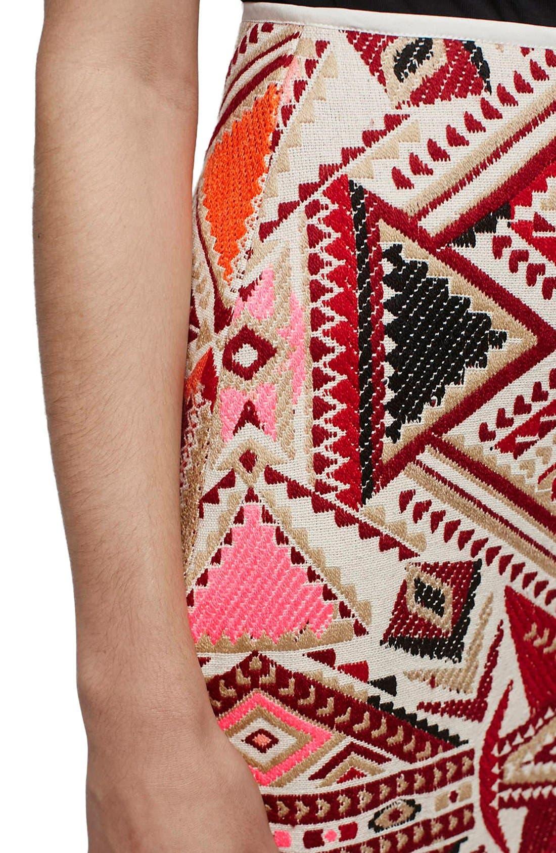 Alternate Image 3  - Topshop 'Desert Traveller' Jacquard Miniskirt