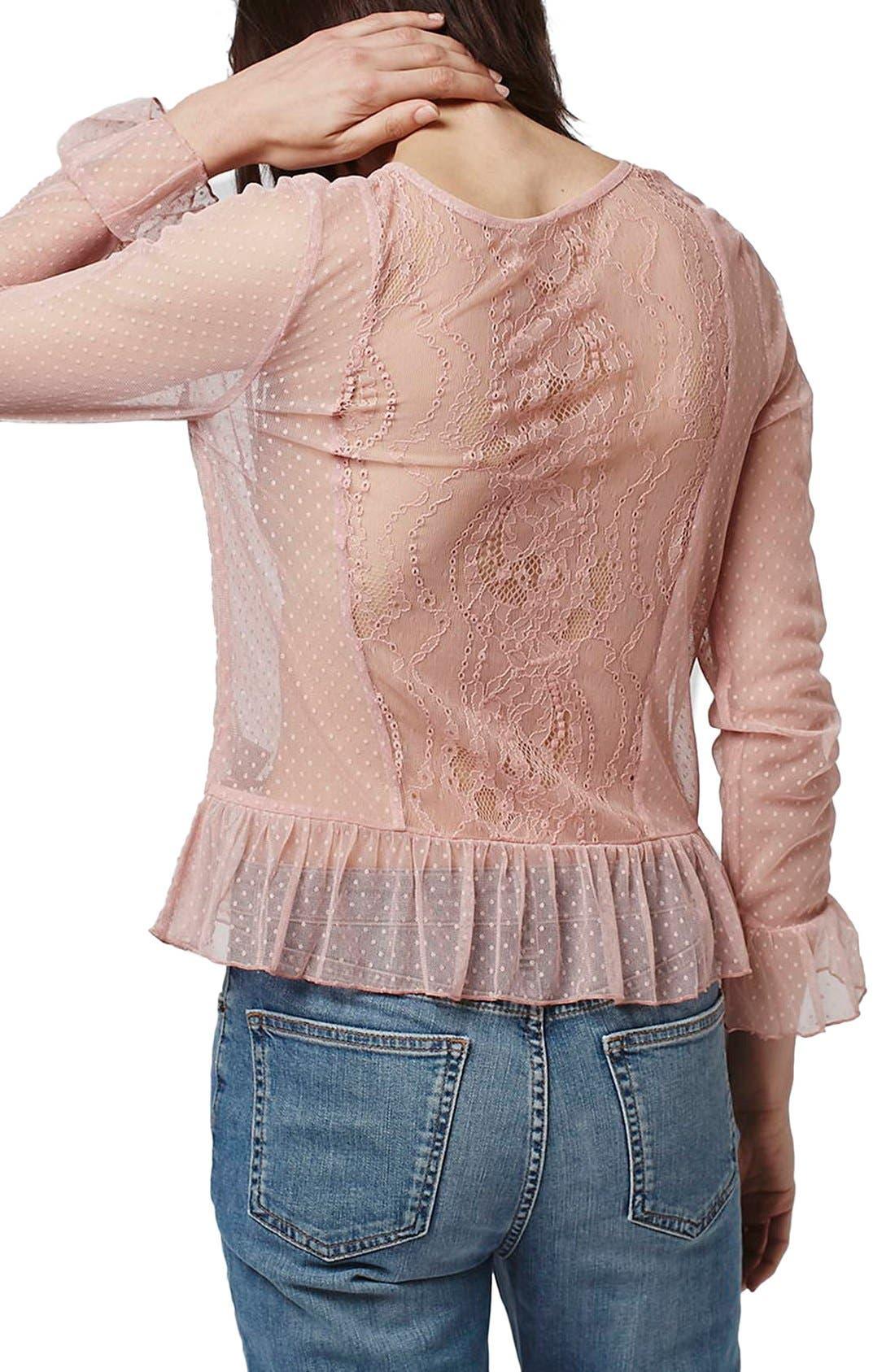Alternate Image 2  - Topshop Sheer Lace Ruffle Hem Top