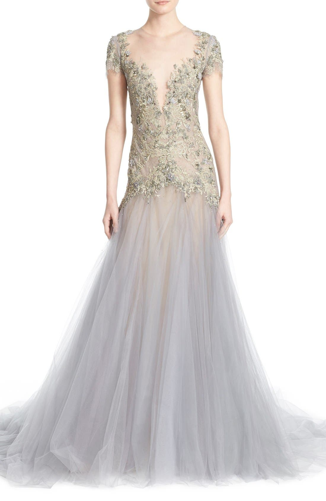 Main Image - Marchesa Embroidered Lace & Tulle A-Line Gown