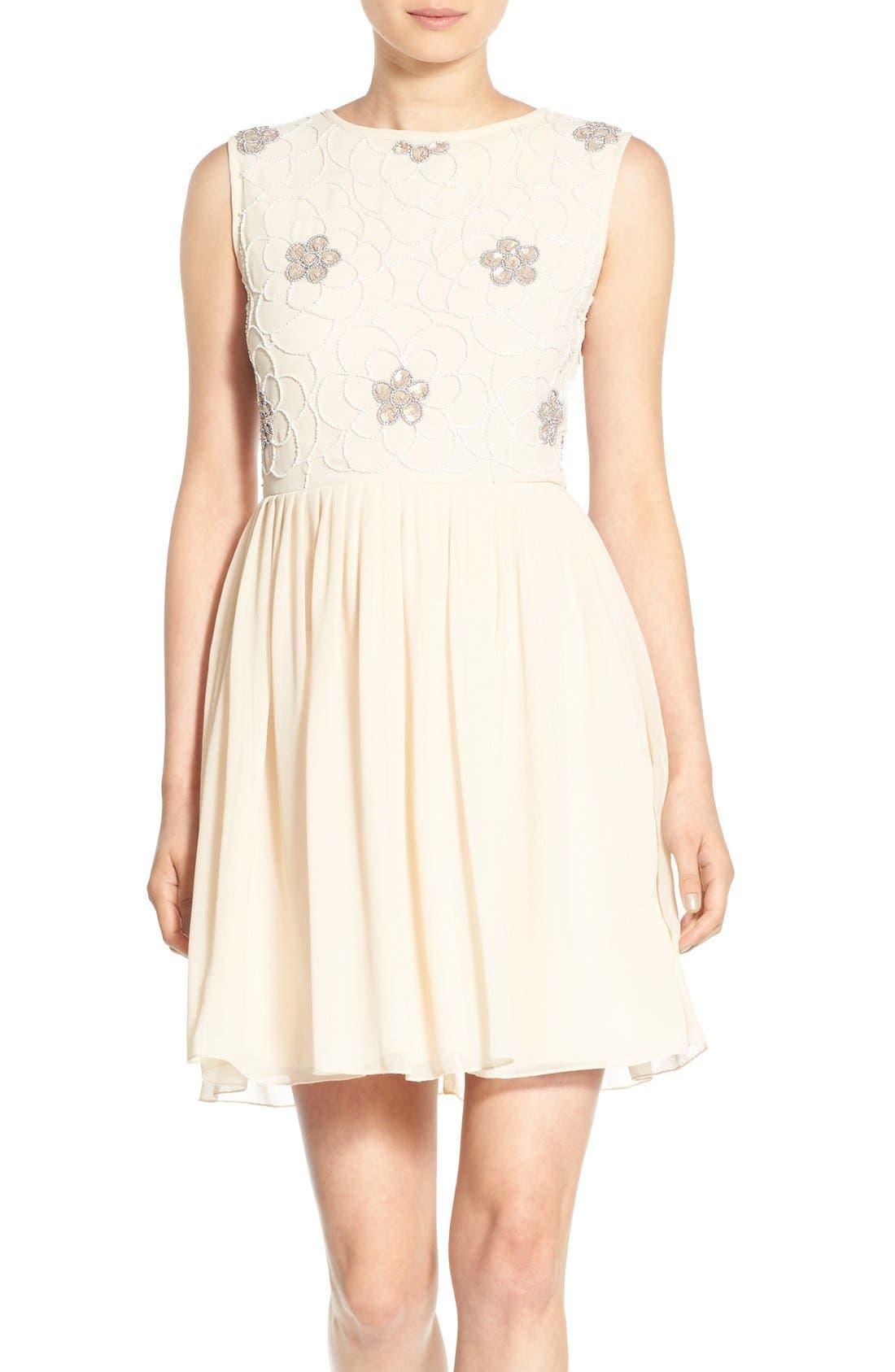 Alternate Image 1 Selected - Lace & Beads 'Sandra' Embellished Skater Dress